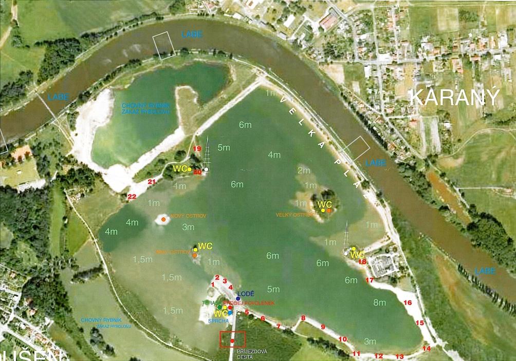 Rybářská místa mapa Rybářský ráj Toušeň